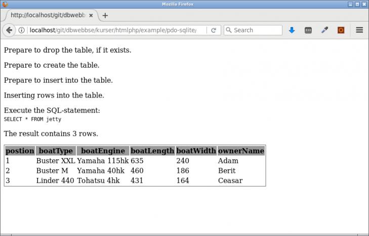 Initiera en databas genom att skapa tabellen och lägga till innehåll via SQL.