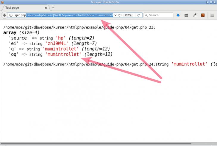 Utskrift av innehållet i variabeln $\_GET, ett sätt att skicka parametrar till en sida.