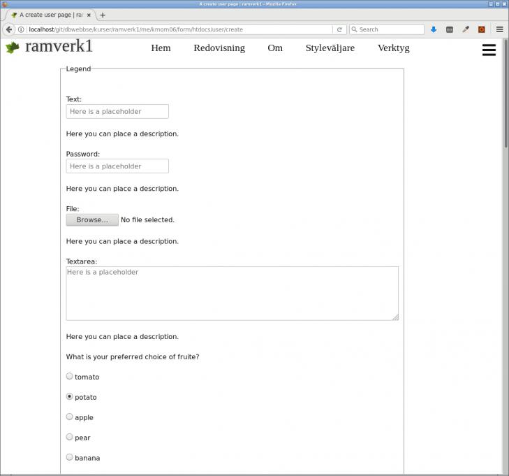 Så här ser skapa-sidan ut när den fungerar, ett stort antal alternativ för formulärelement att välja bland.