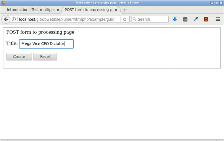 Formulärsidan som kommer posta till processingsidan.