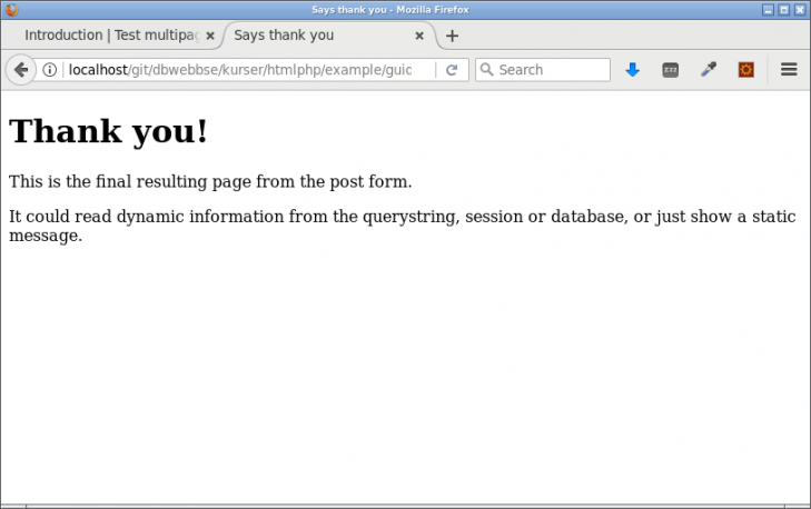 Resultatsidan som tackar, processingsidan visas aldrig för användaren.