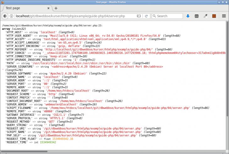 Innehållet i $\_SERVER ger information om sidförfrågan, requesten.