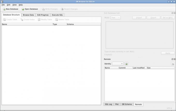 Verktyget SQLiteBrowser är redo för att jobba med databaser.