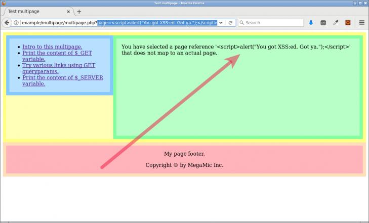 Här skrivs koden ut direkt i webbsidan, utan bekymmer, med hjälp av funktionen htmlentities.
