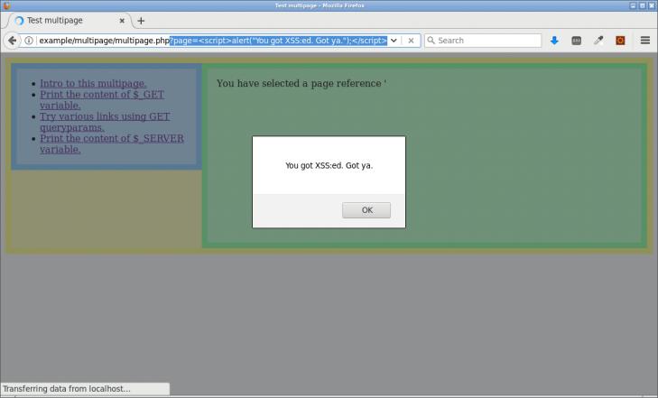 Här används inte htmlentities och webbplatsen kör JavaScript-koden som användaren skickat in.