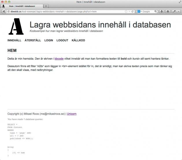 Visa innehåll av typen `page` som en webbsida.
