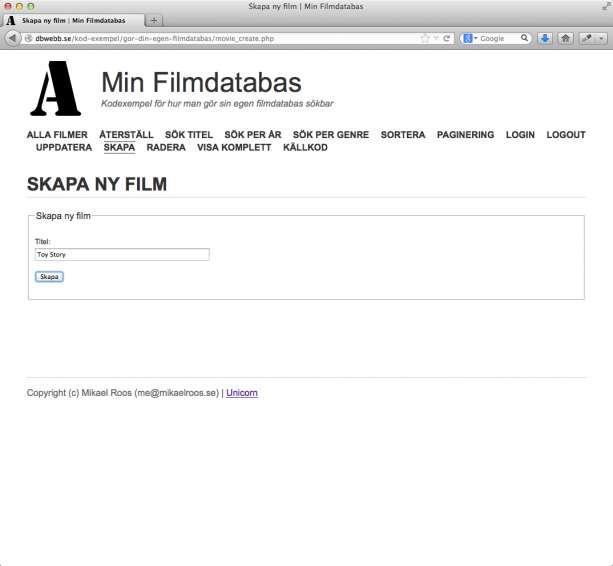 Formulär för att skapa ny film.