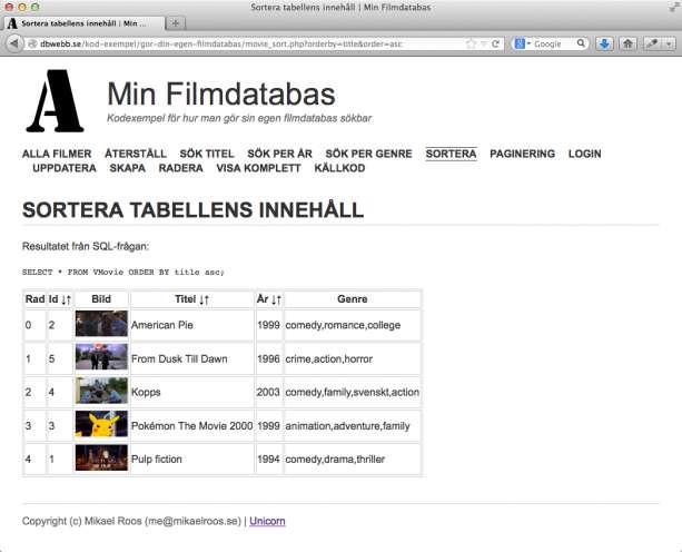 Filmer sorterade per titel i stigande bokstavsordning.