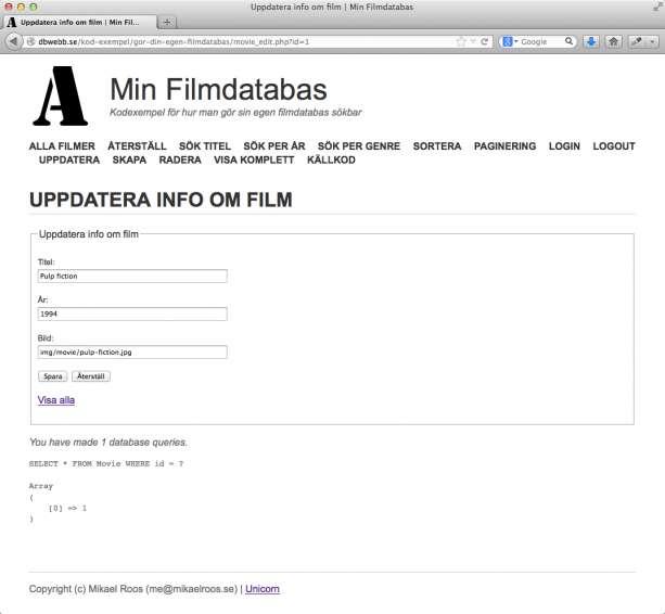 Formulär för att uppdatera detaljer om en film.