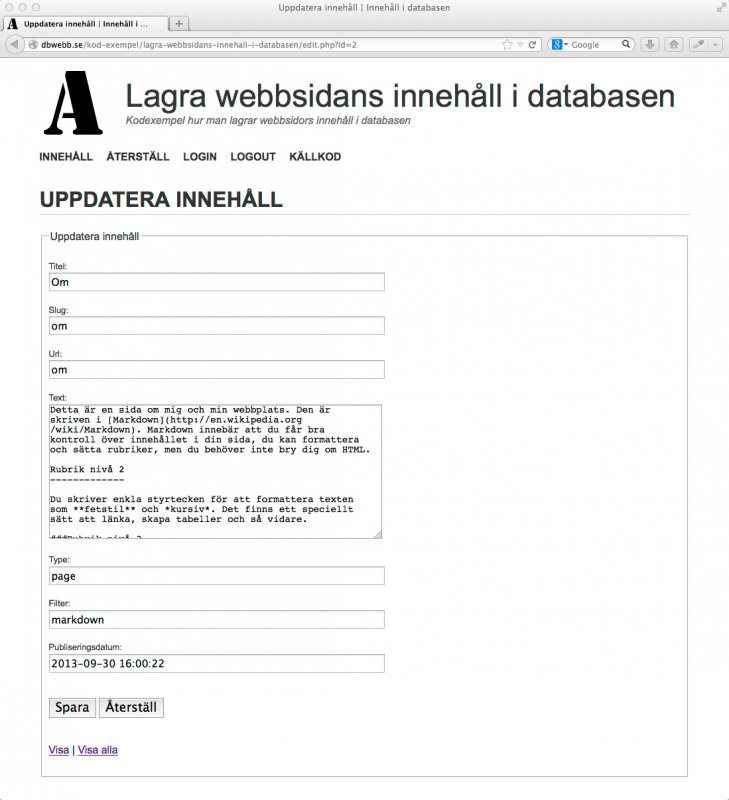Formulär för att editera innehåll i databasen.