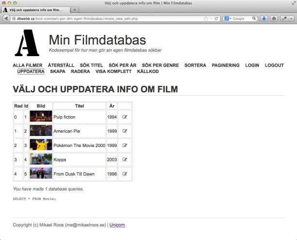Lista de filmer som finns och en knapp/länk för att uppdatera informationen.