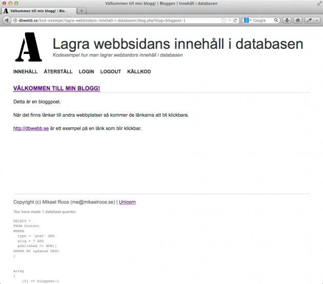 En bloggpost visas ensam på en sida.