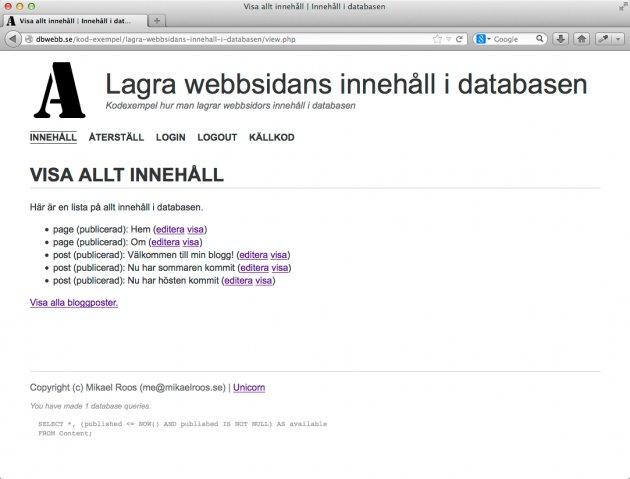 Visa allt innehåll från databasen.