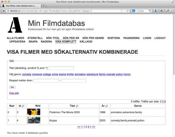 Olika sätt att söka ut informationen ur filmdatabasen.