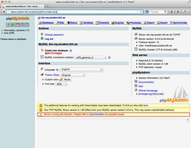 PHPMyAdmin finns tillgängligt via webbservern.