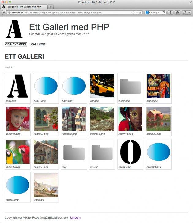 Så här kan ett galleri se ut när du är klar. Startsidan för galleriet som innehåller både bilder och kataloger.