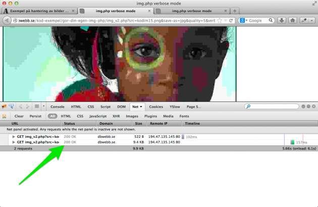 Firebug visar vilka resurser som cachas eller ej, bilden är ej cachad.