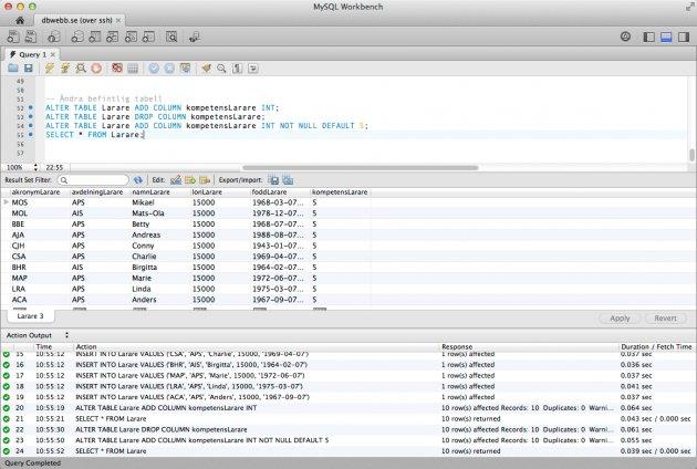Kom igång med databasen MySQL, här via klienten MySQL Workbench.