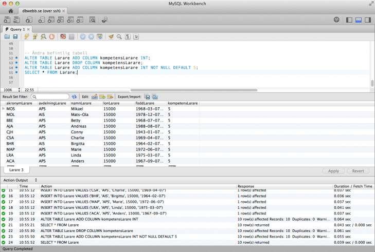 SQL som det ser ut i desktop-klienten MySQL WorkBench.