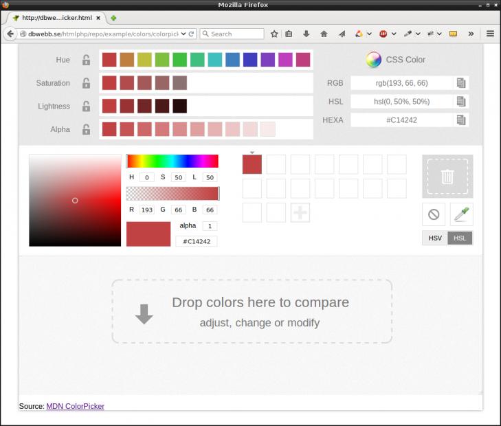 En färgväljare hjälper dig att välja och jämföra färger.