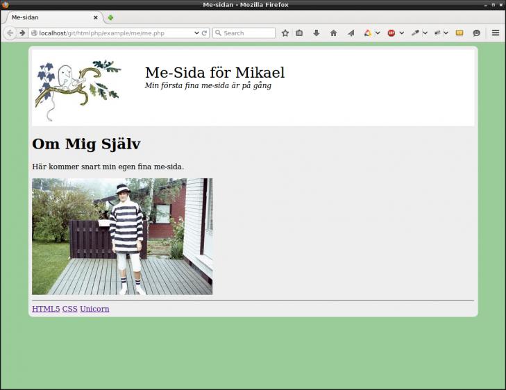 Me-sida, nu med header i form av logo, titel och slogan.