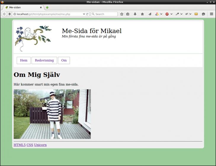 Me-sida, nu med en navbar för navigering mellan de olika sidorna.