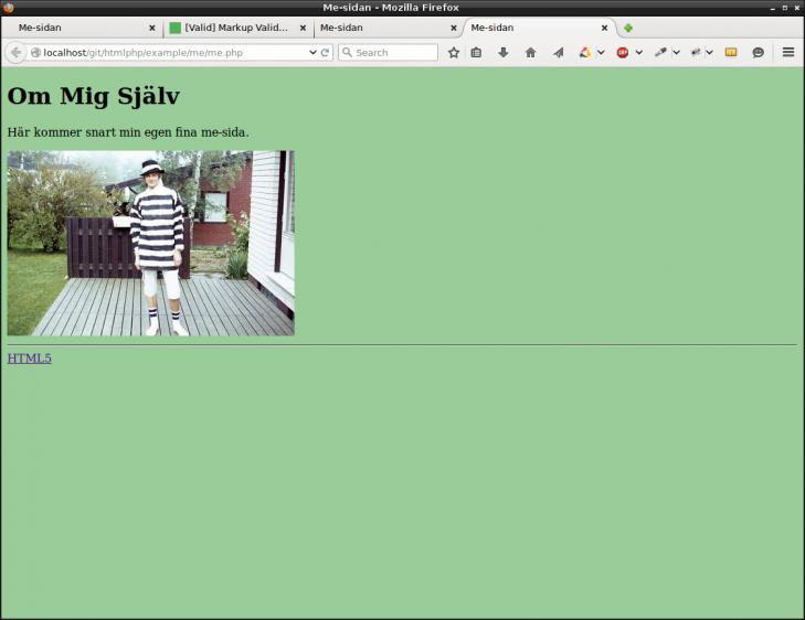 En lätt grön bakgrund och en mer anpassad storlek på bilden.