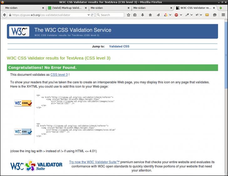 CSS-koden går igenom valideringen.