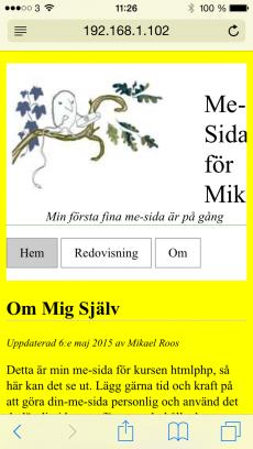 Min me-sida i en iPhone porträtt-läge.