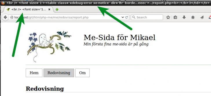 Variabeln för sidans title är inte definierad, istället visas ett felmeddelande.