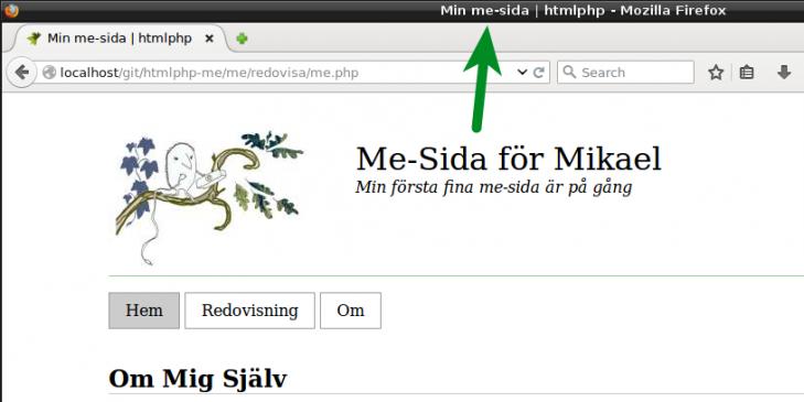 Sidans titel visas nu i webbläsaren.