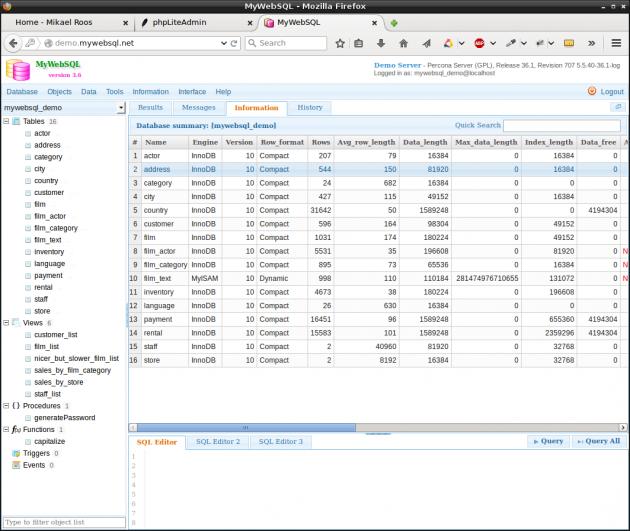 MyWebSQL är ett alternativ till phpliteadmin.