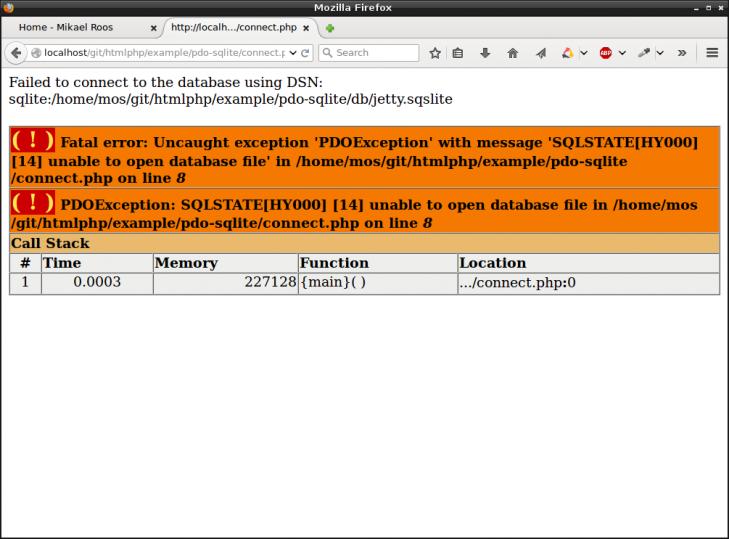 Misslyckades med att koppla sig, eller skapa den felstavade databasen.