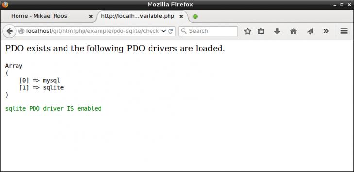 Installationen har stöd för PHP PDO och PDO extension för SQLite finns installerad.