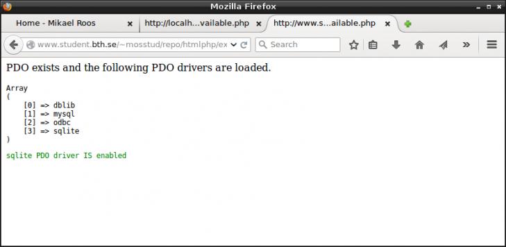 PDO och SQLite finns på studentservern.