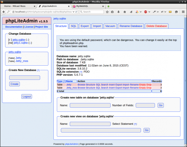 Jobba med databaserna i phpliteadmin.