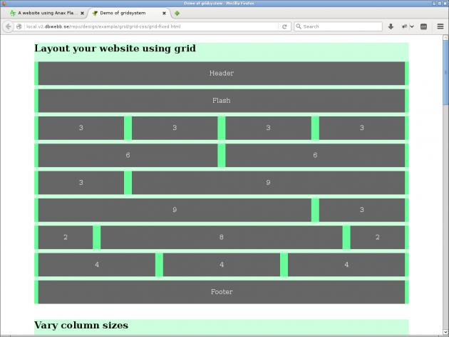 Ett vanligt grid för en webbplats med rader och kolumner.