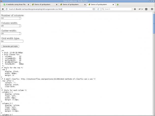 Generera CSS-kod till ett grid med javaScript.
