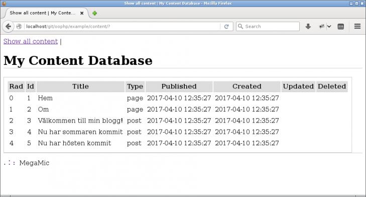 En första ansats att visa vilket innehåll som finns i databasen.