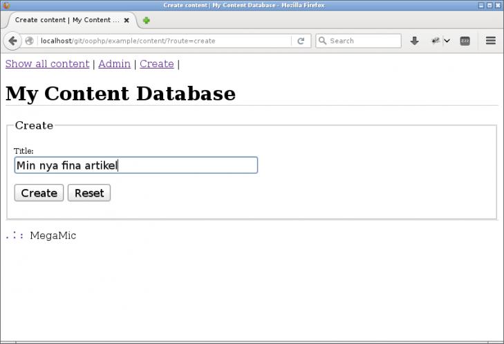 Ett minimalt formulär för att skapa en ny artikel.