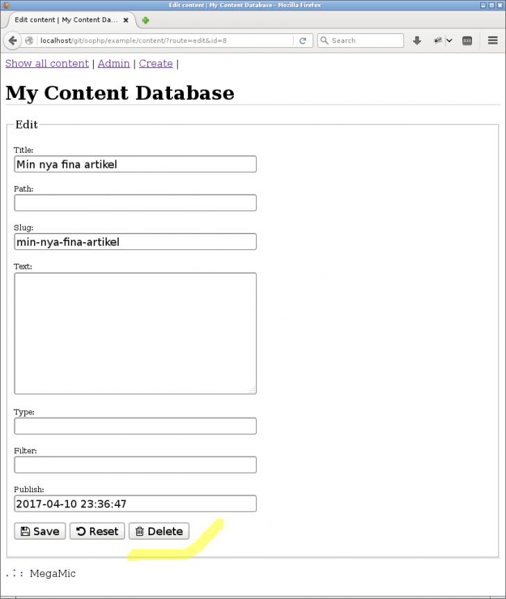 Ett formulär för att jobba CRUD med innehåll i databasen.
