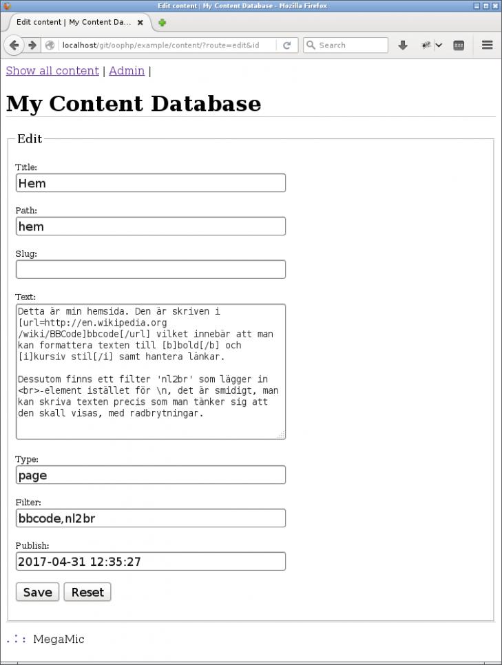 Innehållet kan nu redigeras i ett formulär.