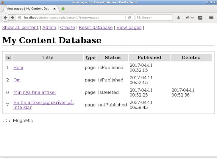 Här är en översikt av de webbsidor som är av typen `page`.