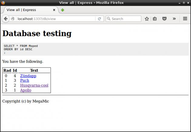 Via Express använder vi oss av MySQL och HTML formulär för att visa och uppdatera databasens innehåll.