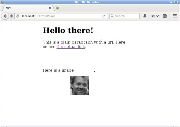 En HTML-sida genererad via en Pug-vy inklusive dynamisk information från JavaScript.