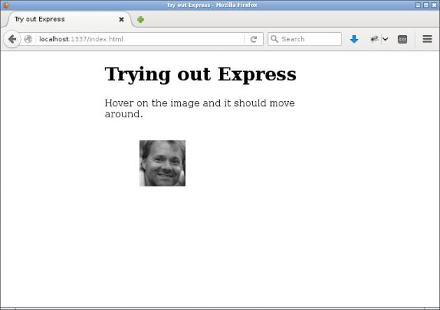 En webbsida med enbart statiska resurser i Express.