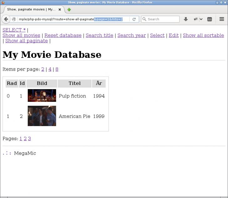 Första sidan visas med två träffar av filmer.