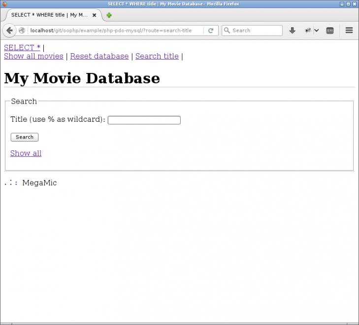 Exempel på sökformulär för filmens titel.