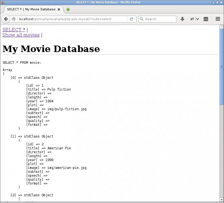 Råa utskrifter av SQL-fråga och resultset.