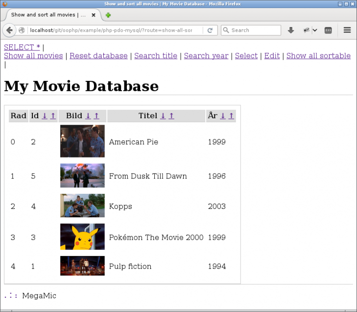 Nu kan man sortera tabellen genom att klicka på pilarna.